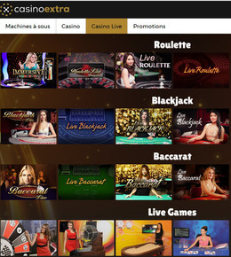 Casino Extra et ses tables en live sur Code Bonus Casino