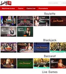 Lucky31 Casino recommandé par Code Bonus Casino