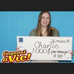"""Charlie Lagarde, la gagnante de la loterie de Loto Québec """"Gagnant à Vie"""""""